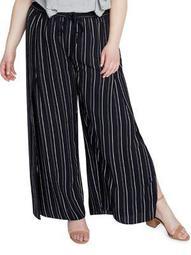 Plus Stripe Vented Wide-Leg Pants