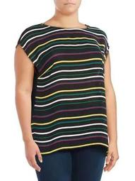 Plus Striped Extended-Shoulder Top