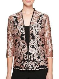 Plus 2-in-1 Embroidered Quarter-Sleeve Jacket and Tank Top
