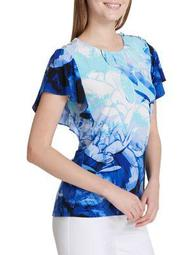 Plus Printed Flounce-Sleeve Top