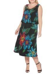 Plus Printed Tiered Dress