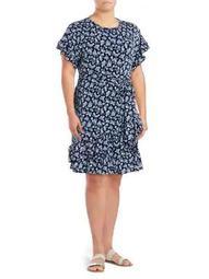 Plus Floral Ruffled Dress