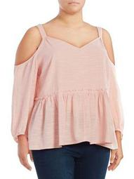 Plus Elizabeth Cold-Shoulder Cotton Top