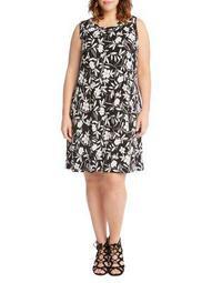 Plus Floral-Print Sleeveless Dress