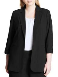 Plus Long Open Collar Jacket