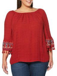 Plus Off-the-Shoulder Embroidered Top