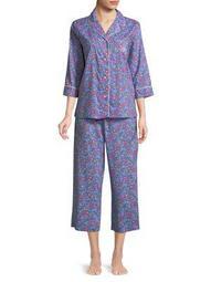 Plus Two-Piece Floral Pajama Set