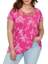 Plus Printed Lace-Up Top