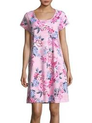 Plus Short-Sleeve Floral Nightgown