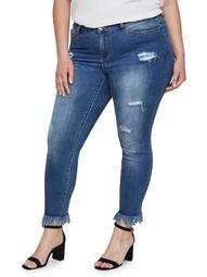 Plus Distressed Slim Ankle Raw-Hem Jeans