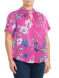 Plus Floral Short-Sleeve Top