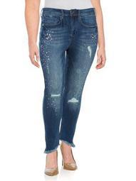 Plus Distressed Shredded Hem Jeans