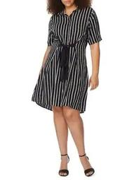 Plus Tie-Waist Shirtdress