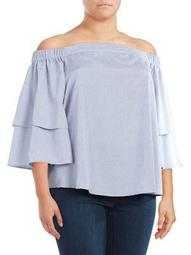 Plus Tiered Bell-Sleeve Top