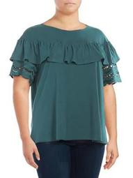 Plus Brynlee Lace-Trim Ruffle Top