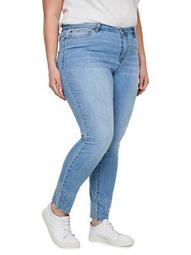 Plus Five Ankle Raw Edge Embroidered Normal Waist Slim Jeans