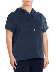 Plus Short-Sleeve Hooded Sweatshirt