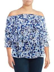 Plus Floral Off-the-Shoulder Top