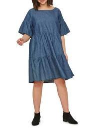 Plus Allegra Short-Sleeve Above-Knee Dress