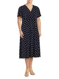 Plus Polka Dots Midi Dress