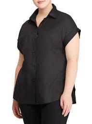 Plus Linen Short-Sleeve Button-Down Shirt