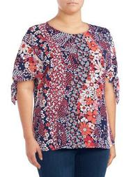 Plus Patchwork Flower Blouse