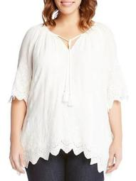 Plus Tied-Neck Embroidered Border Peasant Top