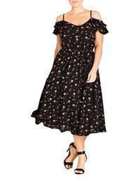 Plus Floral Cold-Shoulder Maxi Dress