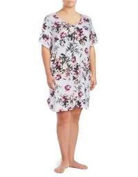 Plus Floral Knee-Length Lounge Shirt