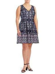 Plus Sleeveless Printed Fit-&-Flare Dress
