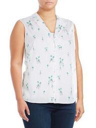 Plus Palm Tree Cotton Button-Down Shirt