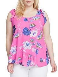Plus Libby Ruffled Sleeveless Top