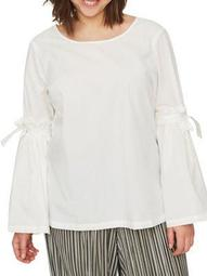 Plus Vayana Long-Sleeve Cotton Blouse