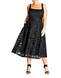Plus Pleated Lace Midi Dress