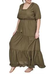 Plus Felicity Short-Sleeve Maxi Dress