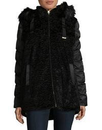 Plus Mixed Media Faux Fur Coat