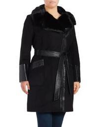 Plus Faux Fur Trim Zip-Front Coat