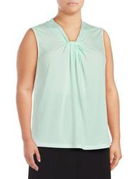 Plus Sleeveless Knotted Top