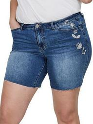 Plus Embroidered Floral Denim Shorts