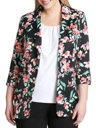 Plus Floral Roll-Sleeve Open Jacket