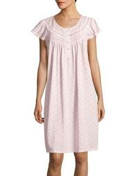 Plus Lace-Trimmed Printed Nightgown