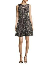 Plus Floral Lace Fit-and-Flare Dress