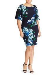 Plus Floral Flutter-Sleeve Dress