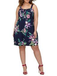 Plus Printed Fit-and-Flare Dress