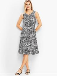 Wildflower Flounce Fit-and-Flare Midi Dress