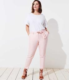 LOFT Plus Slim Textured Tie Waist Pencil Pants