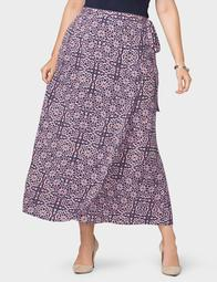 Plus Size Printed Wrap Skirt