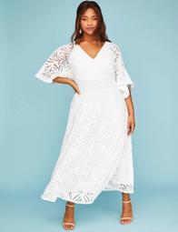 Split Kimono Sleeve Maxi Dress with Lace Trim