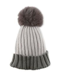 Colorblock Ribbed Beanie Hat with Fox Fur Pompom, Gray