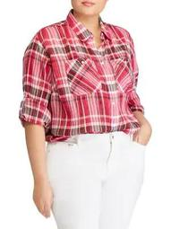 Plus Plaid Cotton Button-Down Shirt